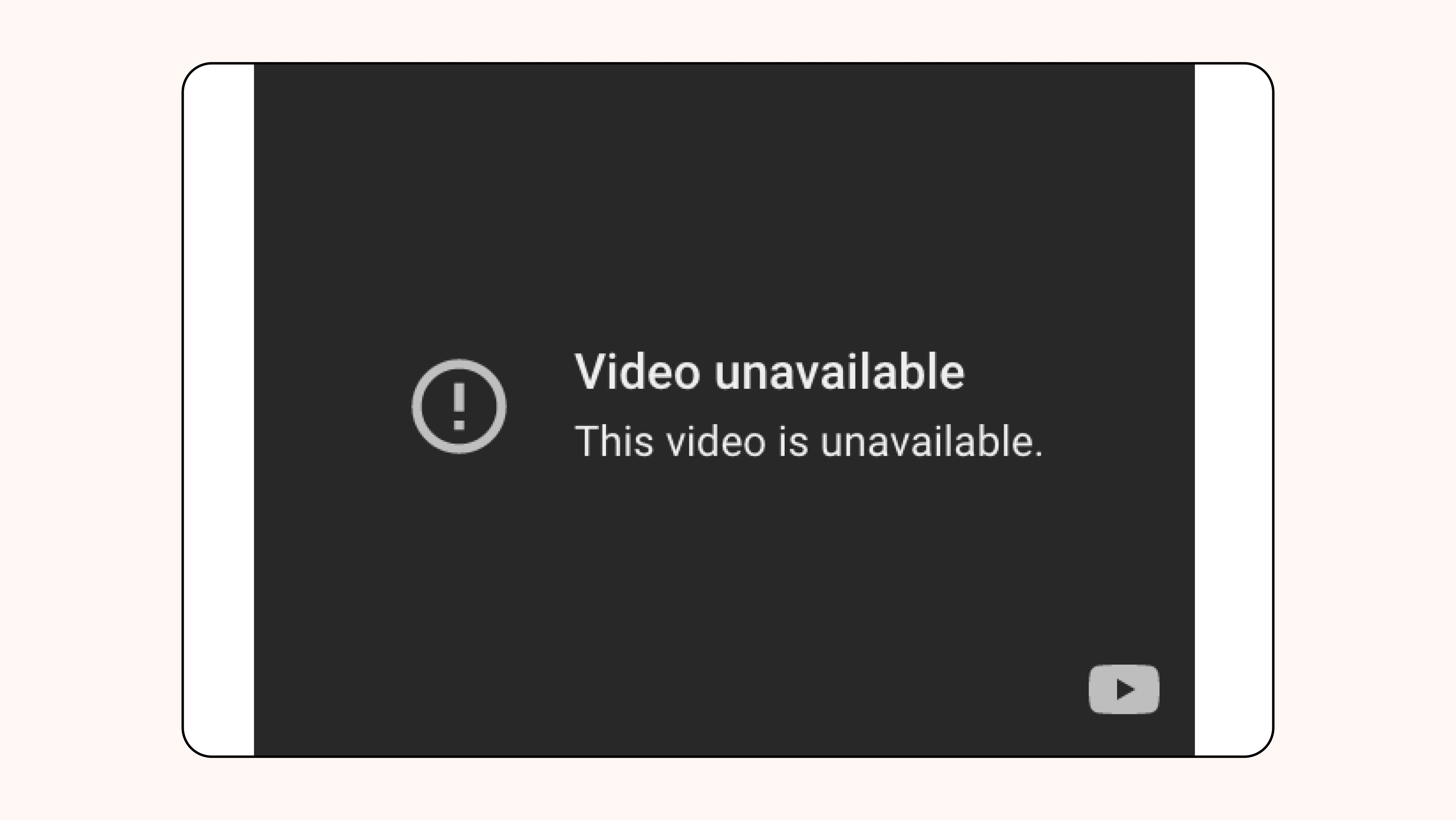 Dark screen with exclamation mark. Video unavailable. This video is unavailable. YouTube logo at the bottom