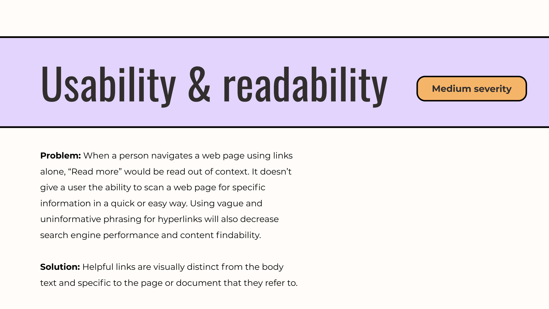 Usability & readability slide in a UX audit report