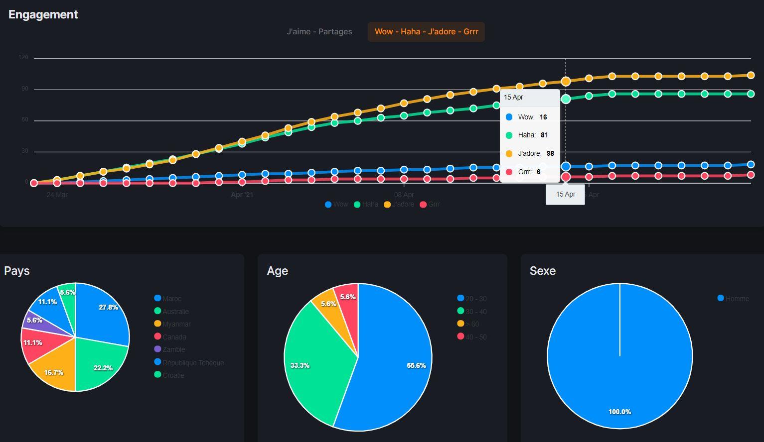 Analyse d'une annonce Facebook avec Minea