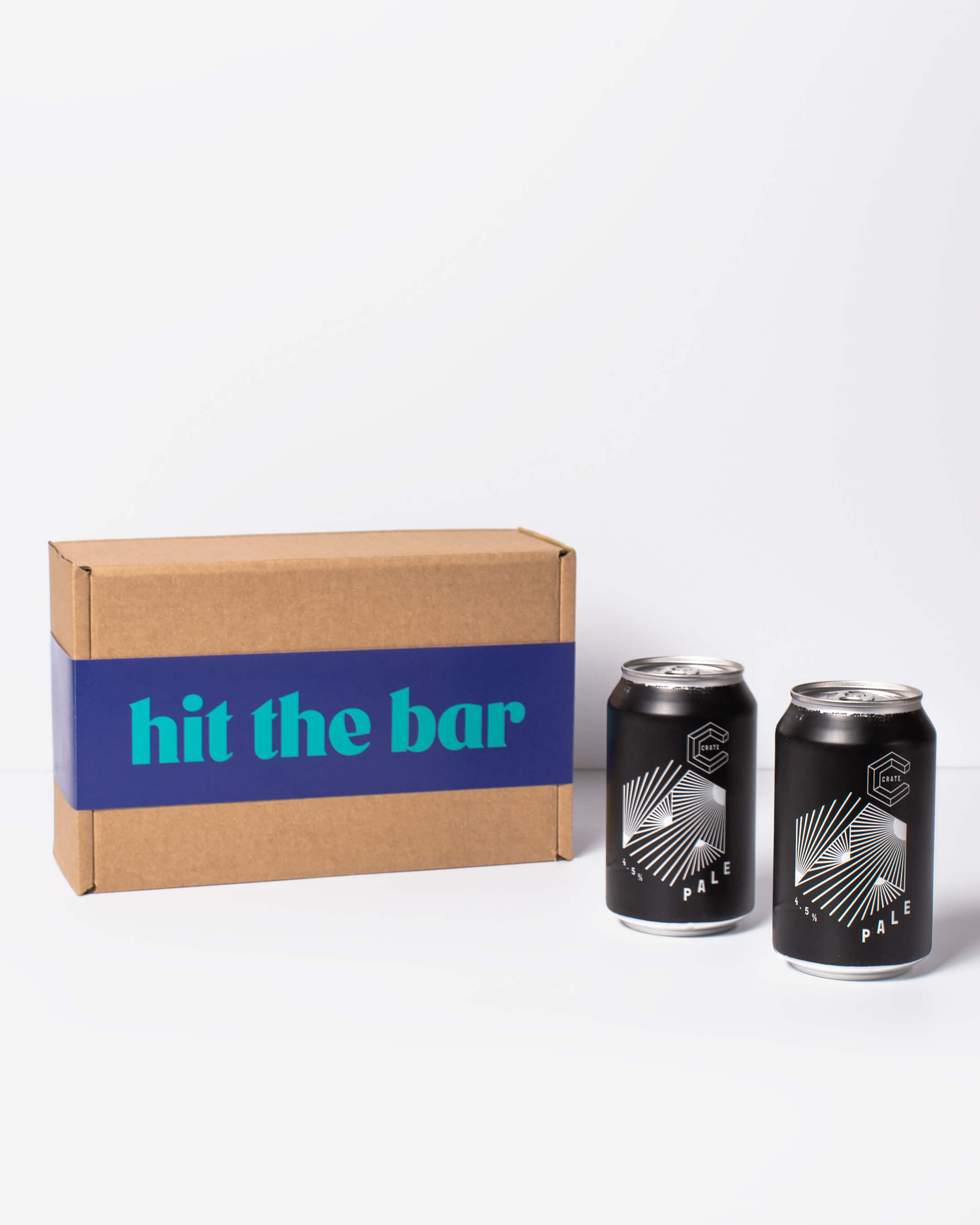 Crate Brewery Pale Ale cans & ta. box