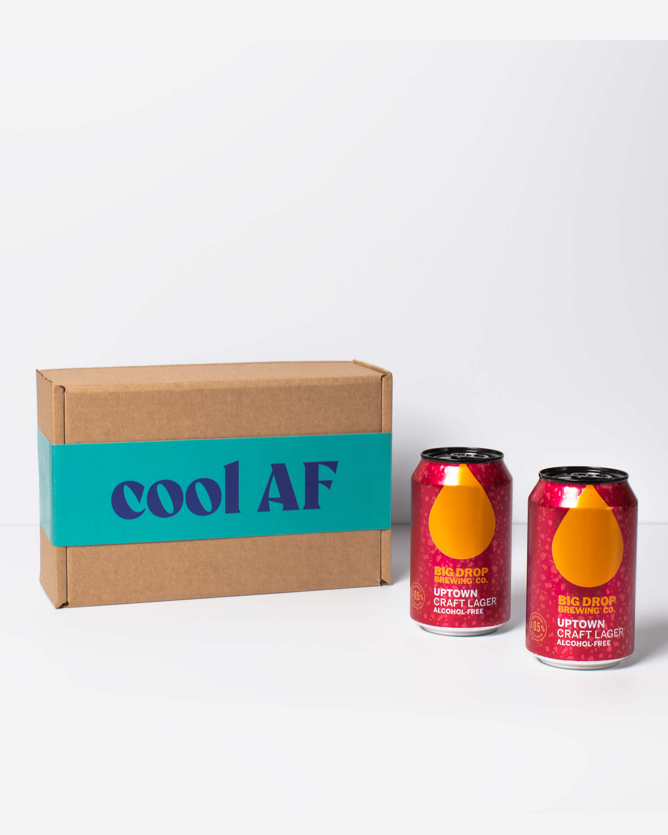 Big Drop alcohol free lager cans & ta. box