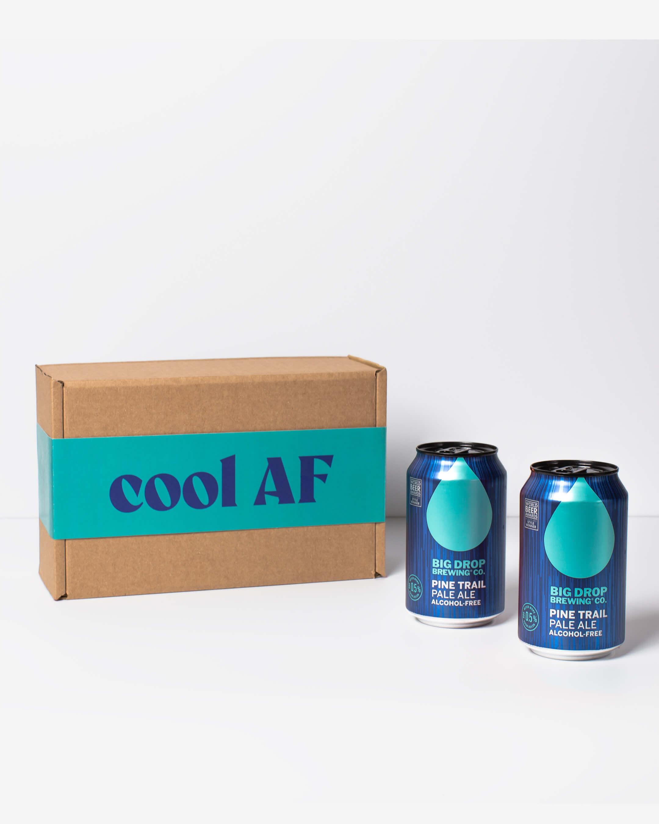Big Drop alcohol free pale ale cans & ta. box