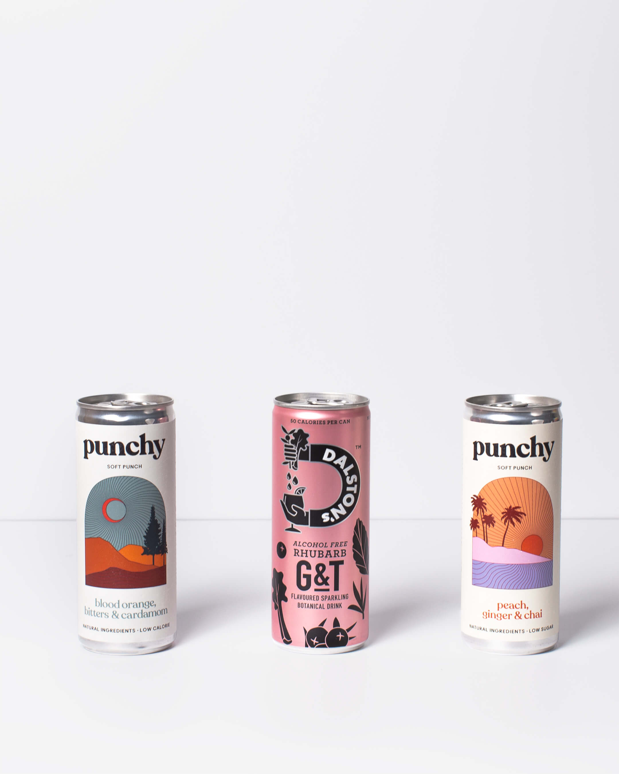 Dalston's alcohol free Gin & Tonic & Punchy soft punch cans