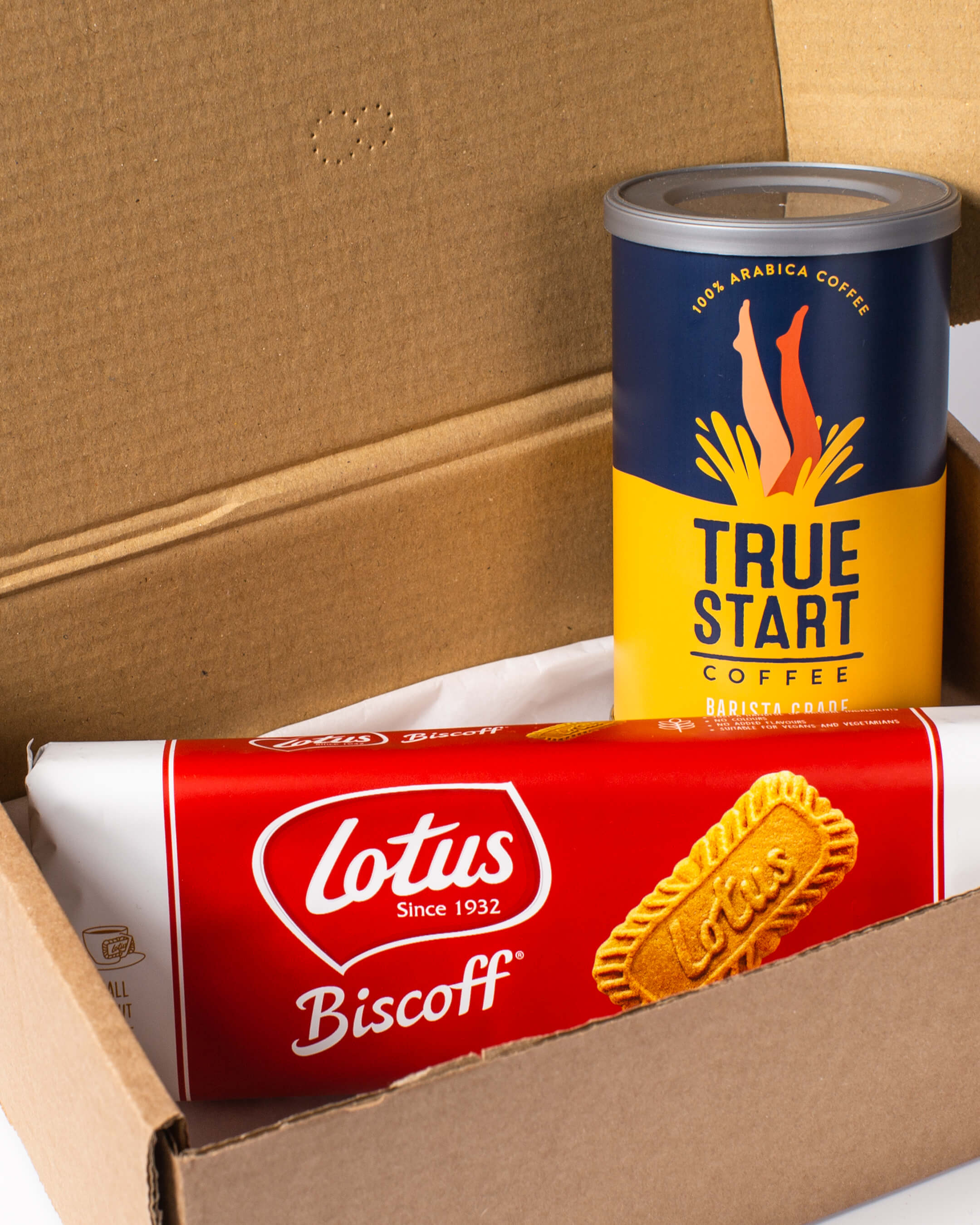 Inside the coffee & biscuits box: True Grade barista style coffee with Lotus Biscoff coffee biscuits