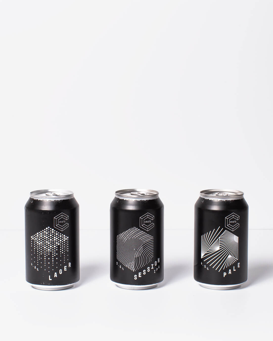 Crate Brewery Lager, IPA & Pale Ale cans