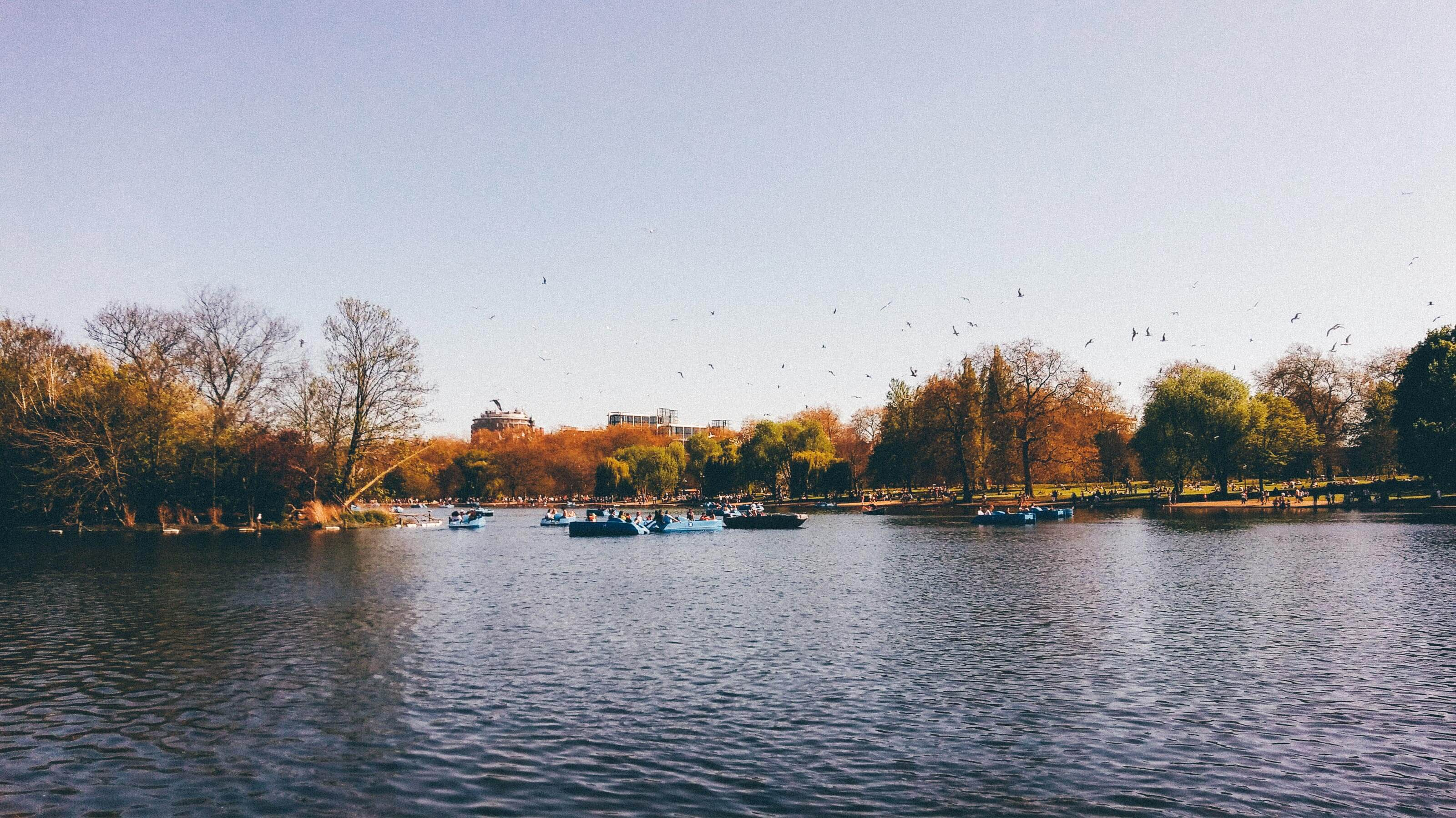 View of the lake at Hyde Park showing the boats and the park either side.