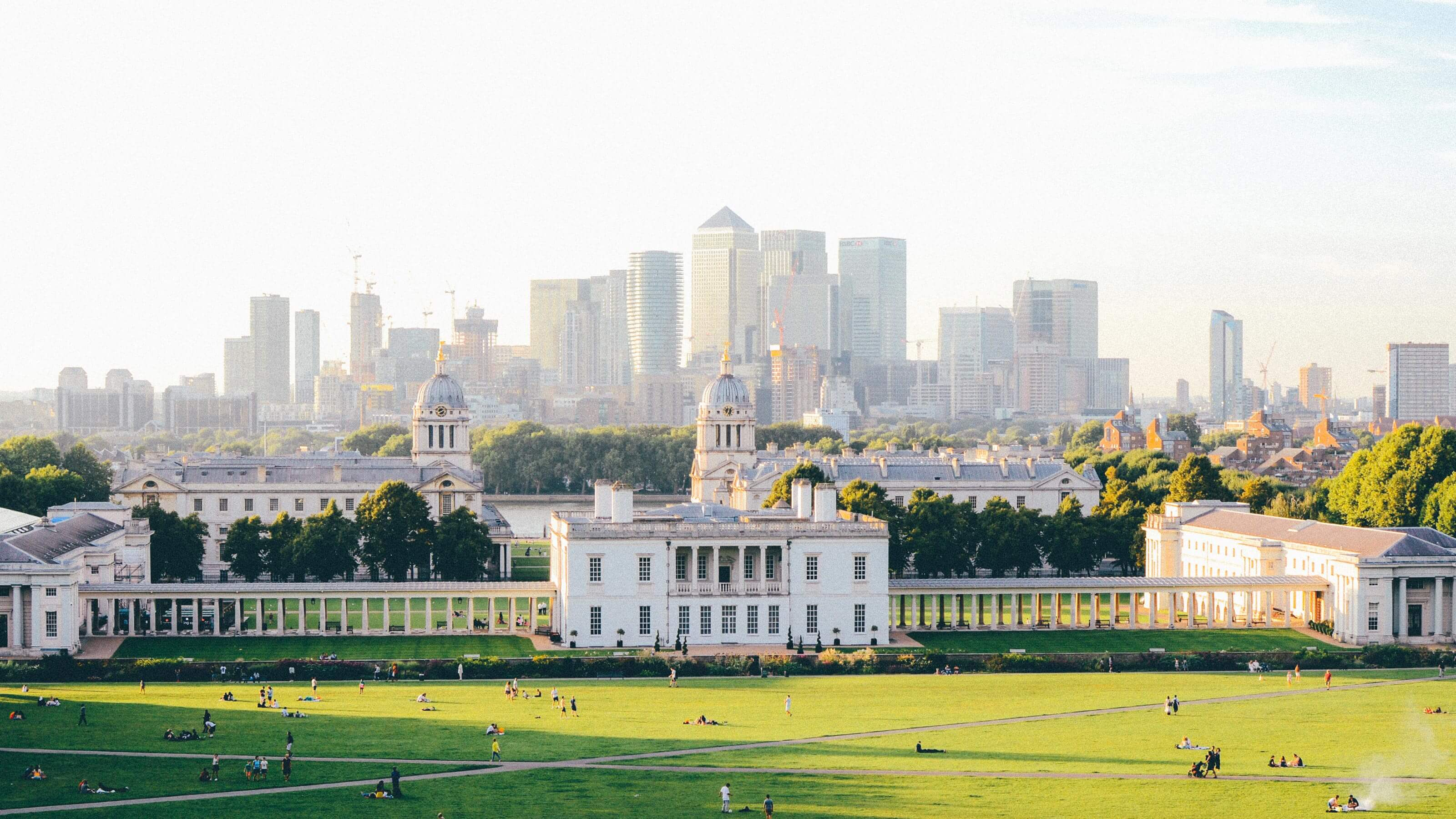The view in the distance of the city in London from Greenwich Park