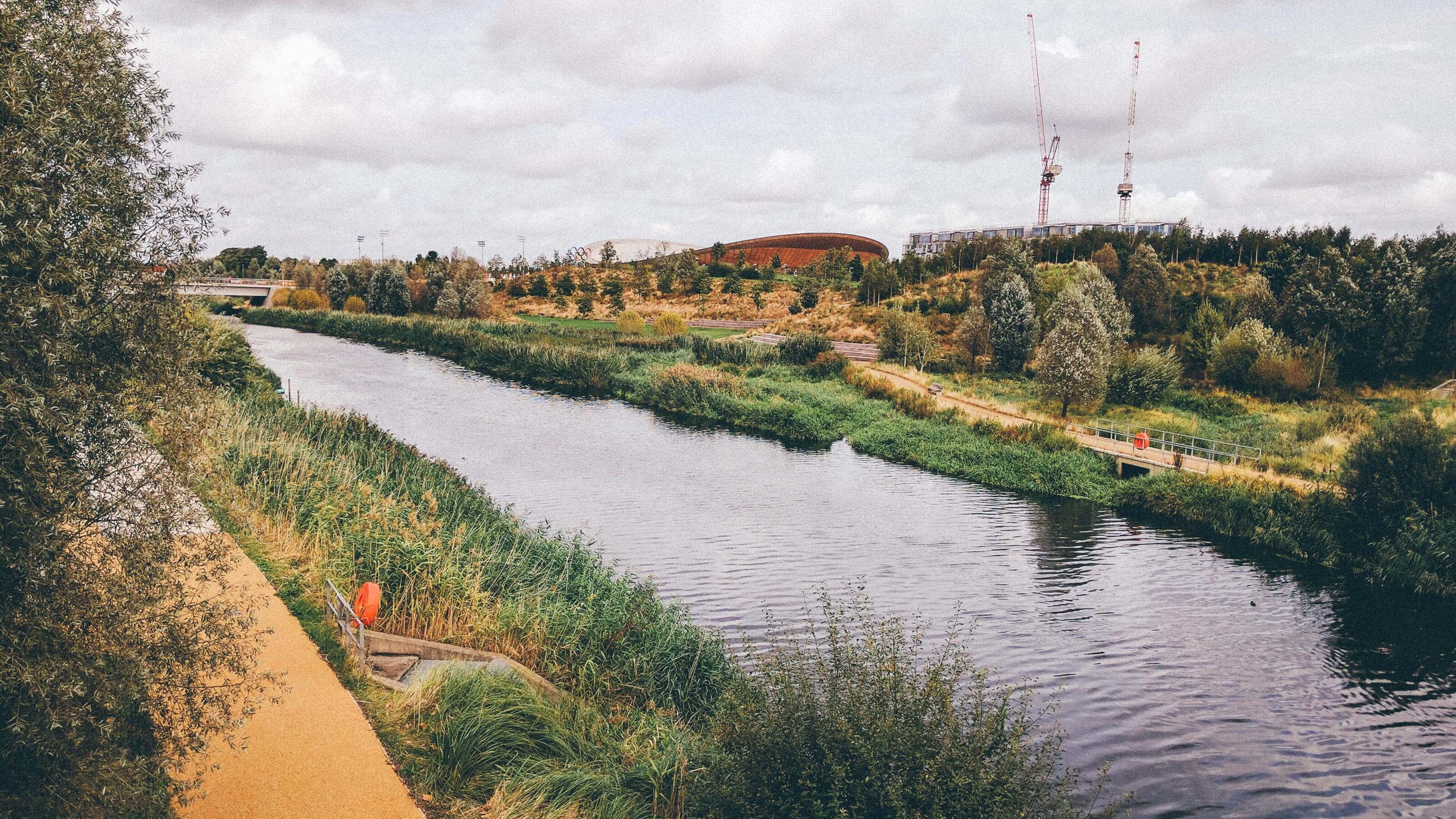 Queen Elizabeth Olympic Park with the Velodrome in the distance