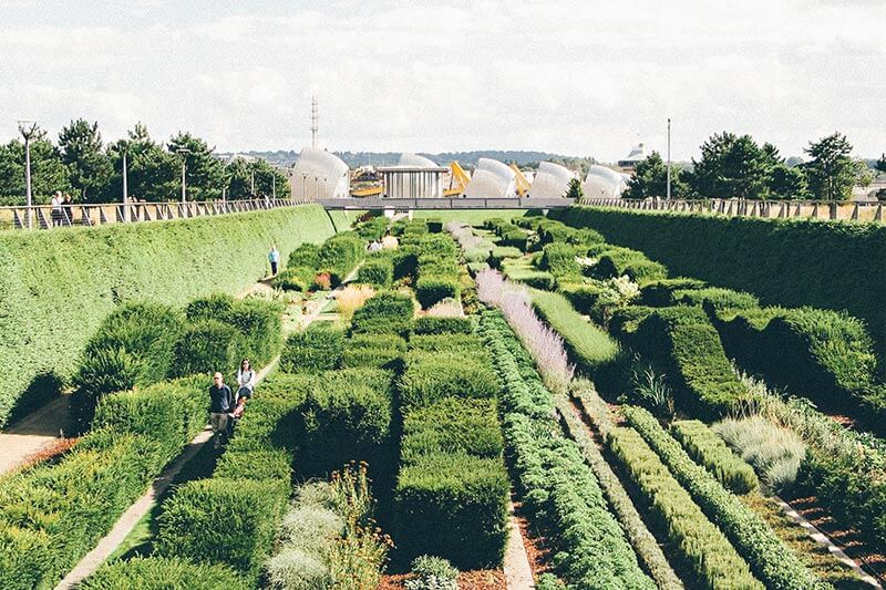The Green Dock at Thames Barrier Park with the Thames Barrier in the distance