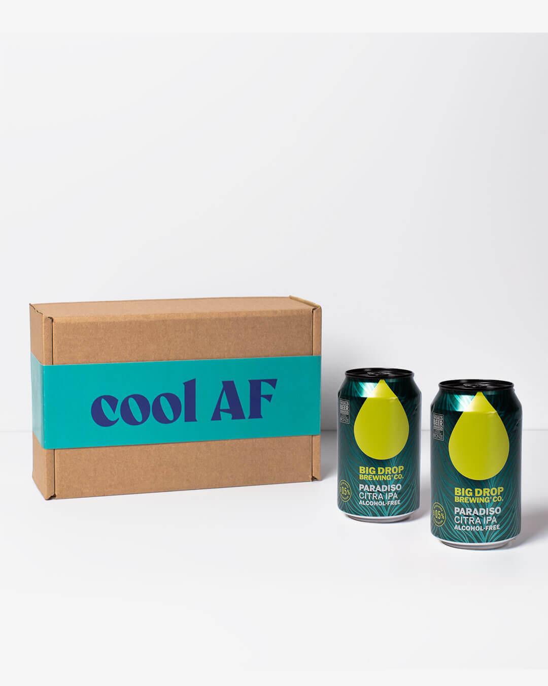 Big Drop alcohol free IPA cans & ta. box