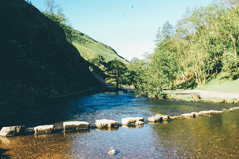 Stepping stones at Dovedale across the river