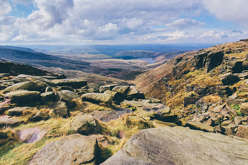 The view from the peak of Kinder Scout