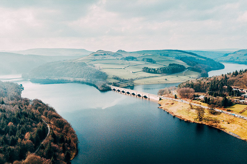The view from above of the Ladybower & Derwent Reservoirs