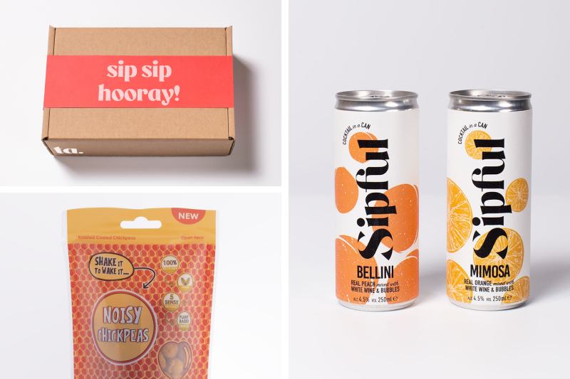 Sip Sip Hooray! box with Sipful cans & Noisy Chickpeas snacks