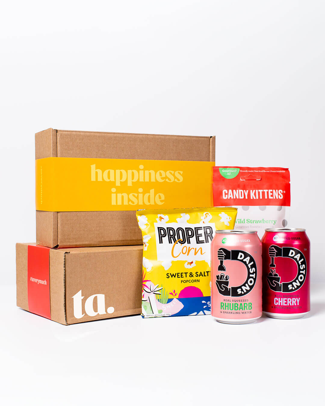 soft drink box contents: cans of Dalston's soft drinks, Propercorn popcorn & Candy Kitten sweets