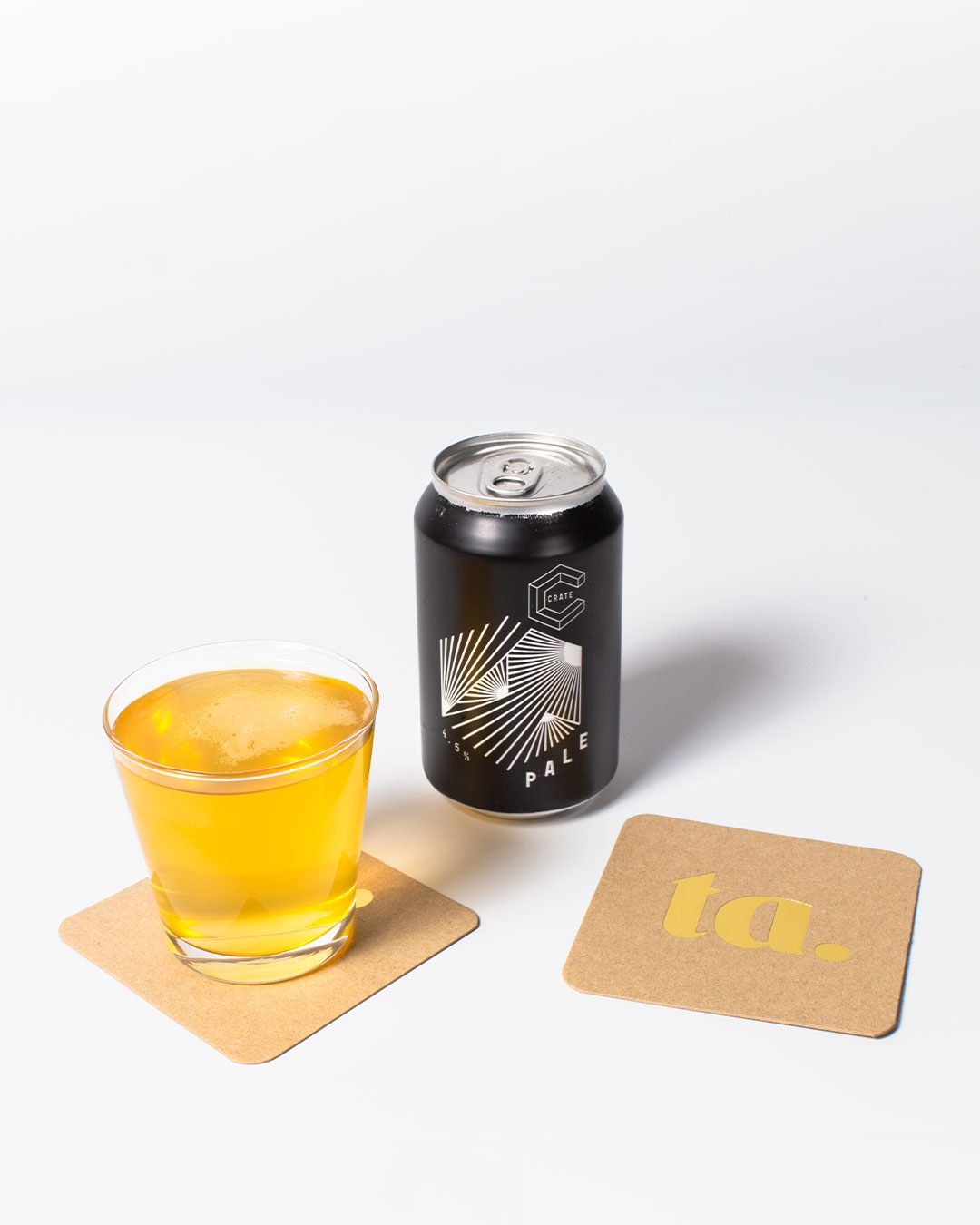ta. beer coaters, beer in a glass & crate Pale Ale can