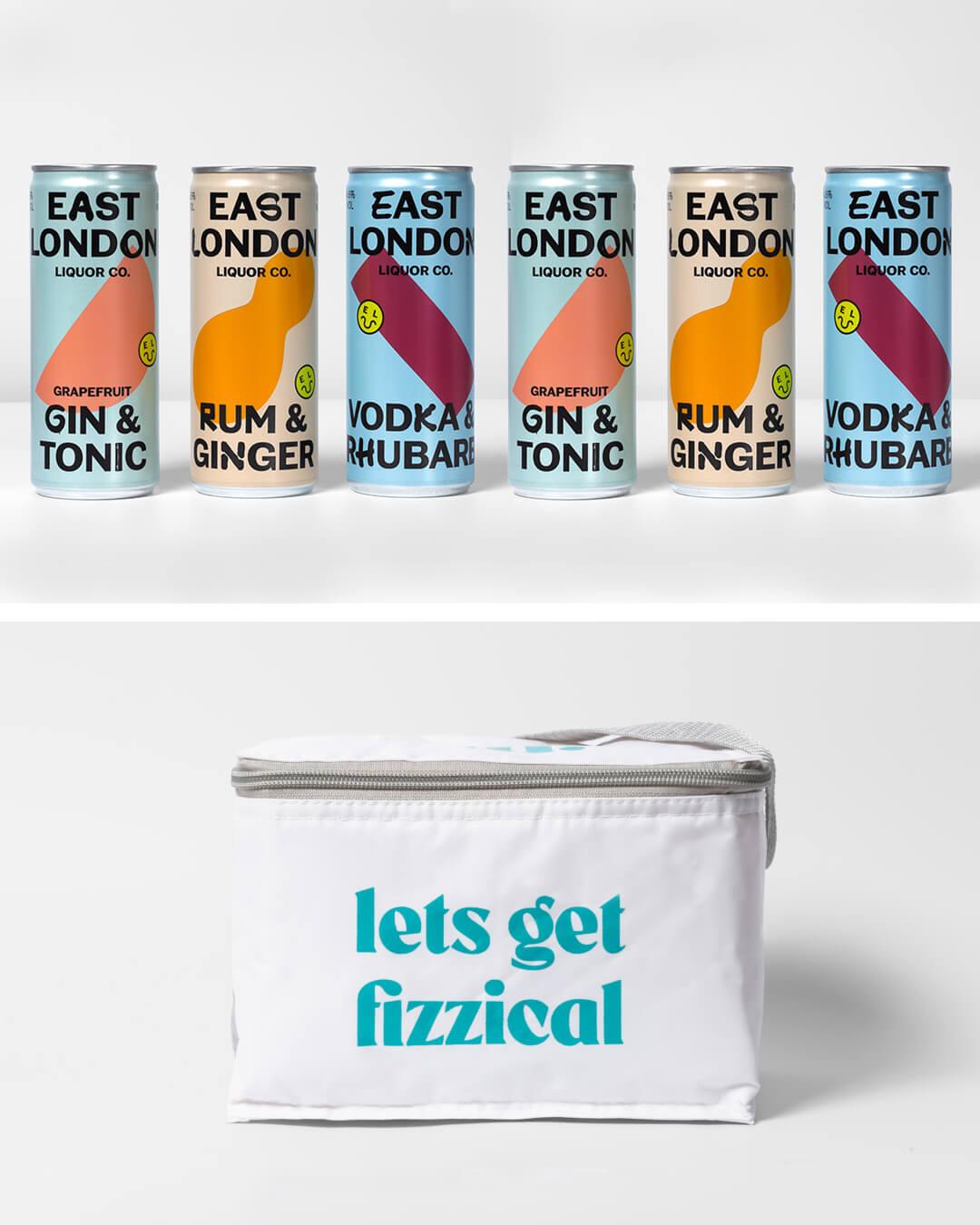 East London Liquor Company spirit cans & ta. cool bag