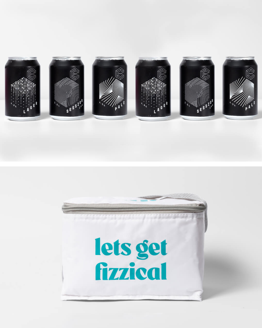 Crate Brewery craft beer cans & ta. cool bag