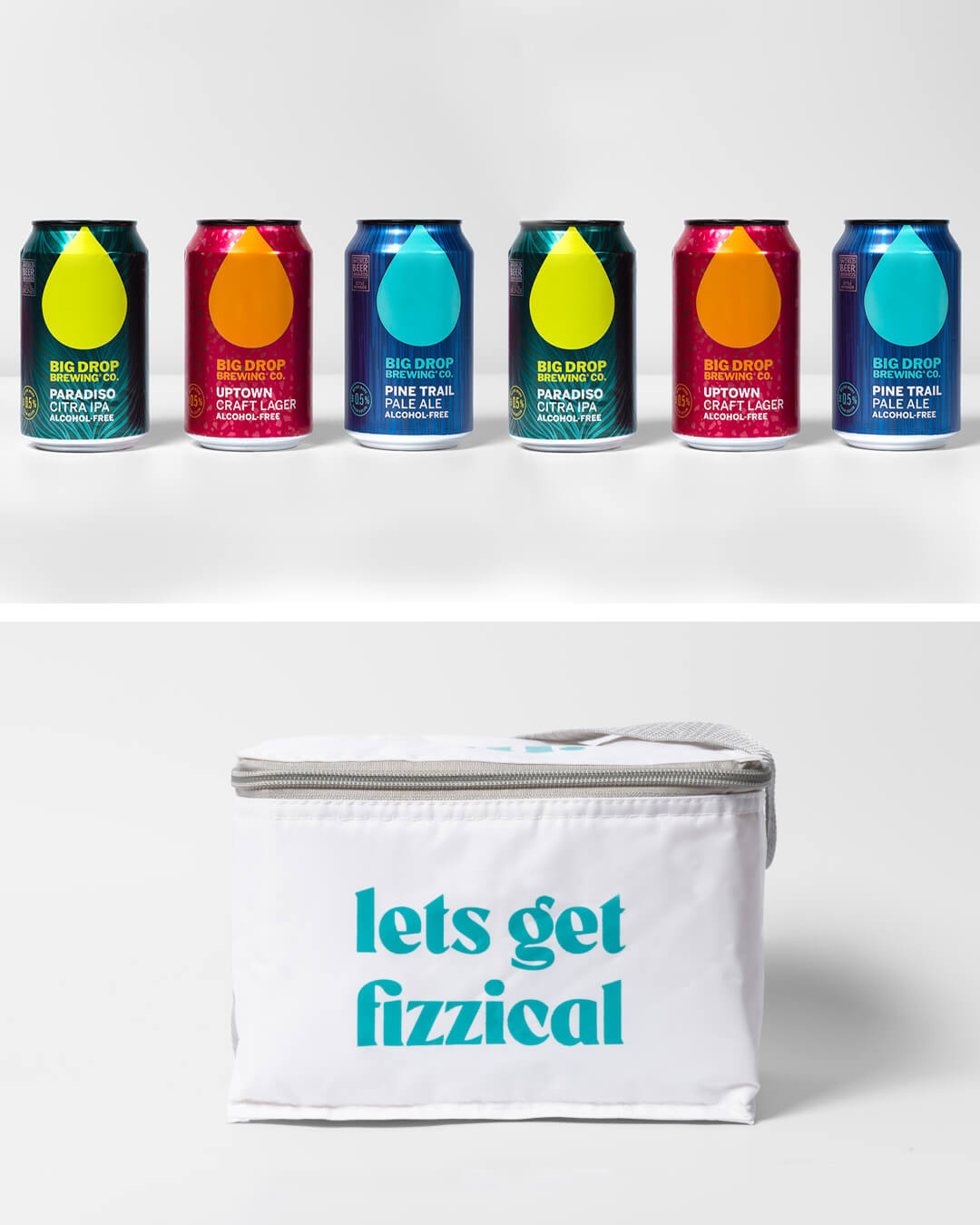 Big Drop alcohol free craft beer cans & ta. cool bag