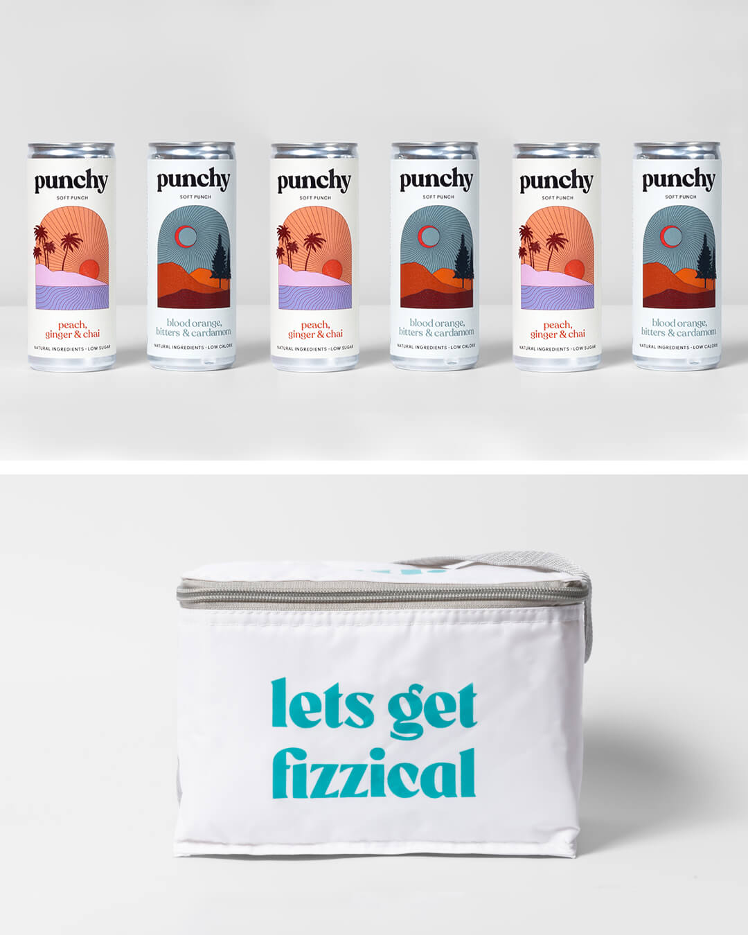Punchy alcohol free cocktail cans & ta. cool bag