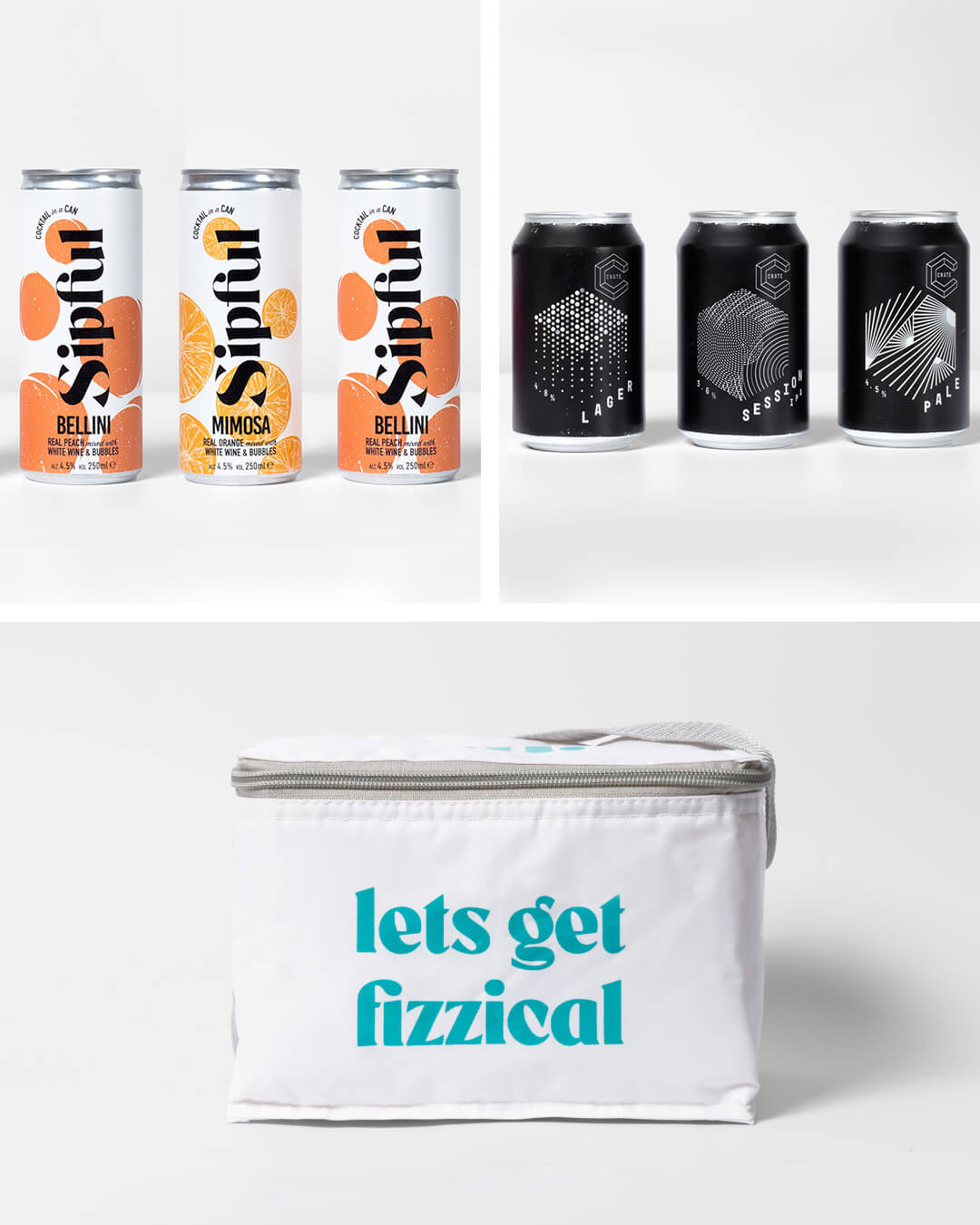 Crate Brewery, Sipful cocktail cans & ta. cool bag