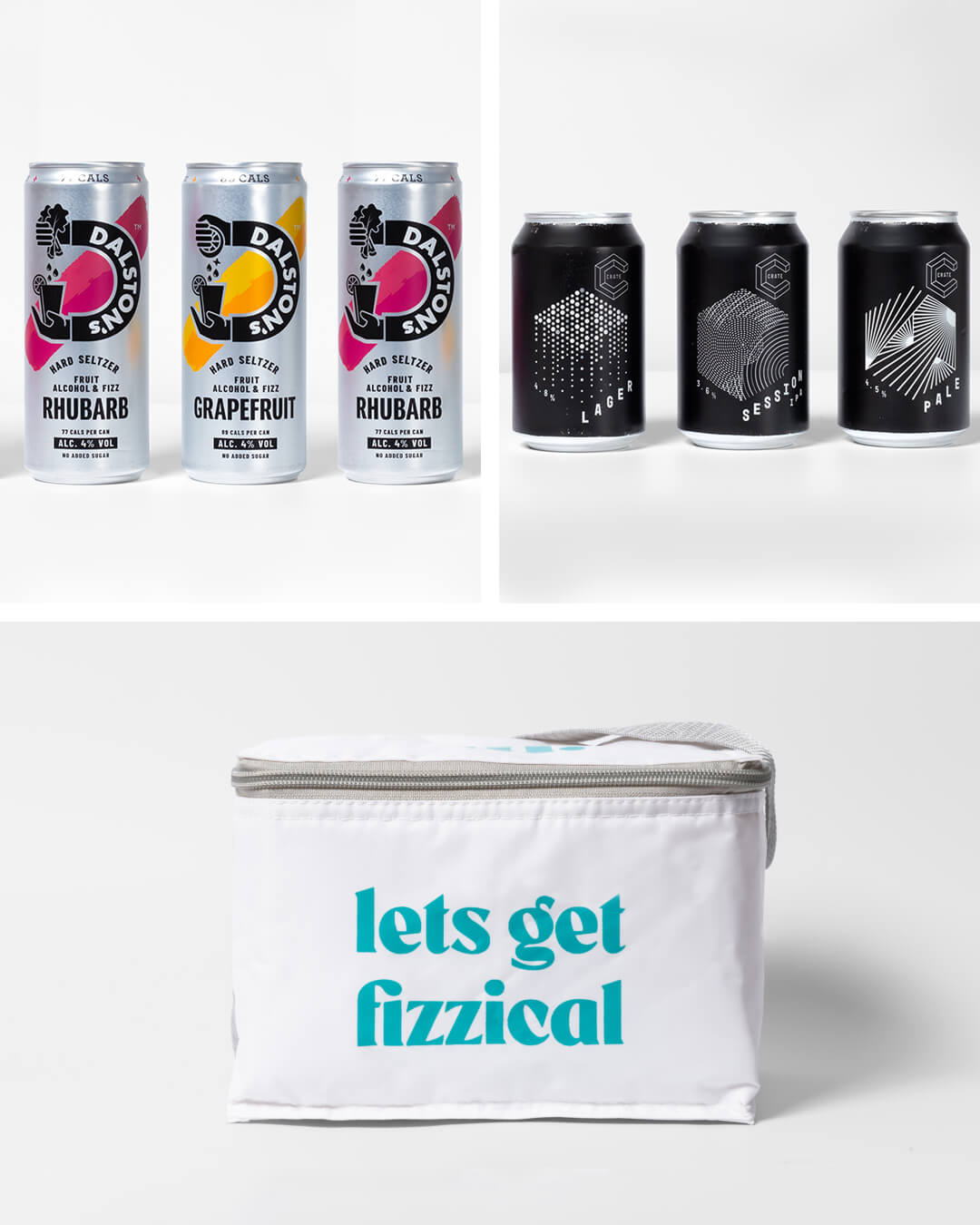 Crate Brewery, Dalston's hard seltzer cans & ta. cool bag