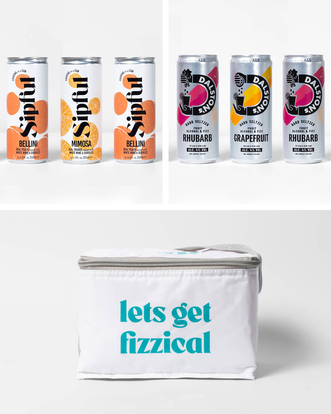 Sipful cocktail cans, Dalston's hard seltzer cans & ta. cool bag