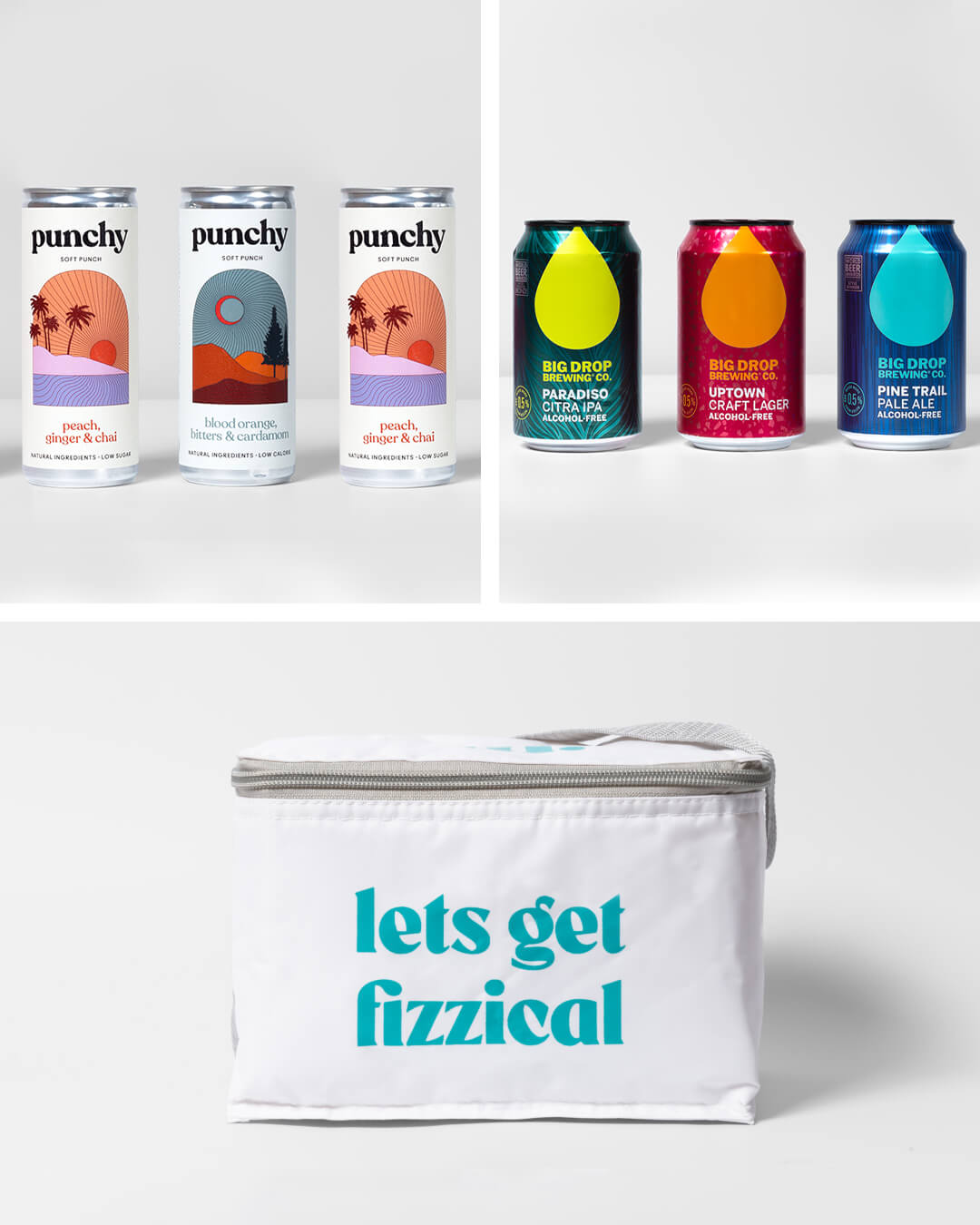 Punchy Drink alcohol free cocktail cans, big drop alcohol free craft beer cans & ta. cool bag