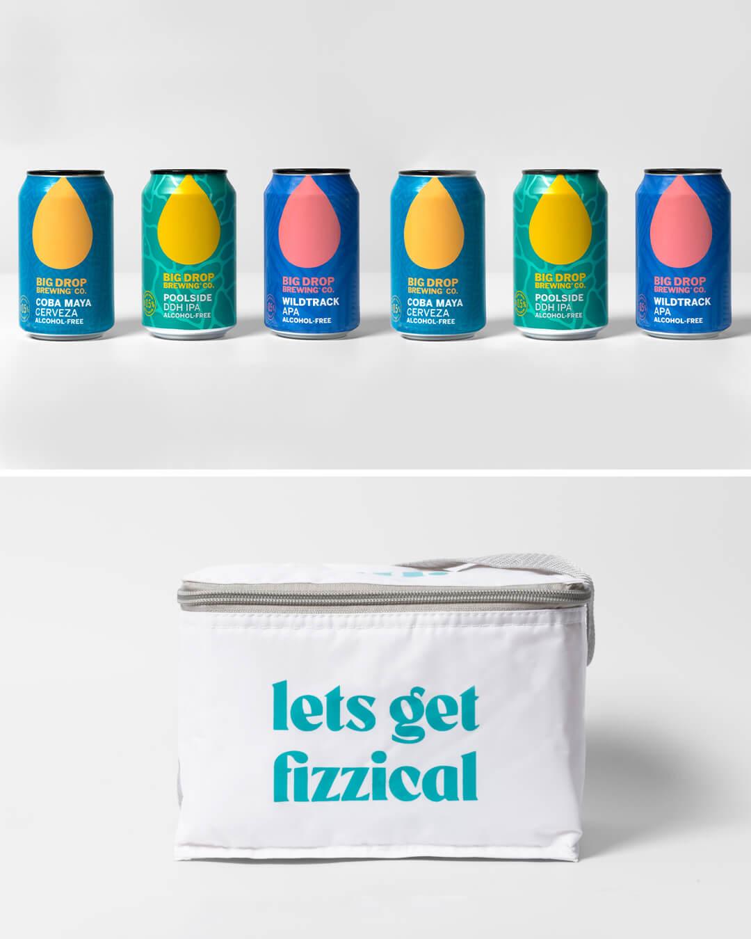 Big Drop Summer alcohol free craft beer cans & ta. cool bag
