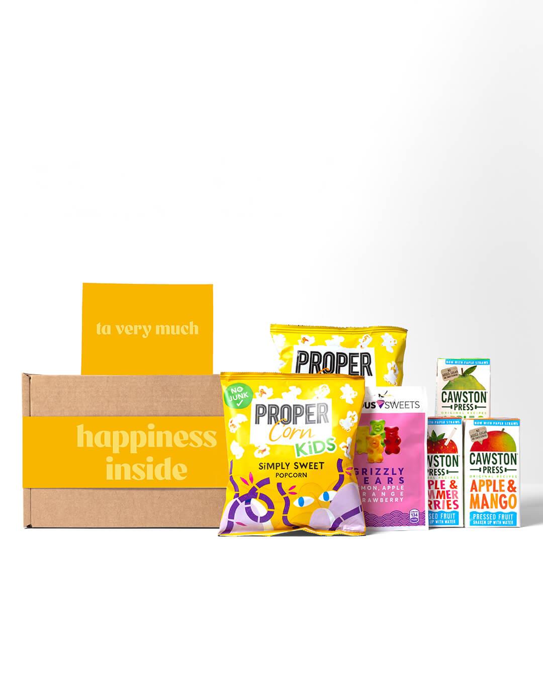 ta. soft drinks box - contents shown, Cawston juice boxes, kids Proppercorn Popcorn &  Jealous Sweets