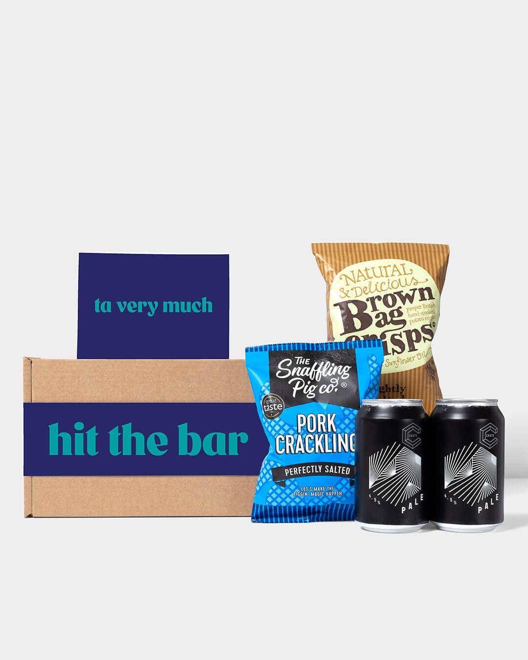 Craft beer box including contents: Crate Brewery Beer, Snaffling Pig Pork Scratchings & brown Bag Crisps