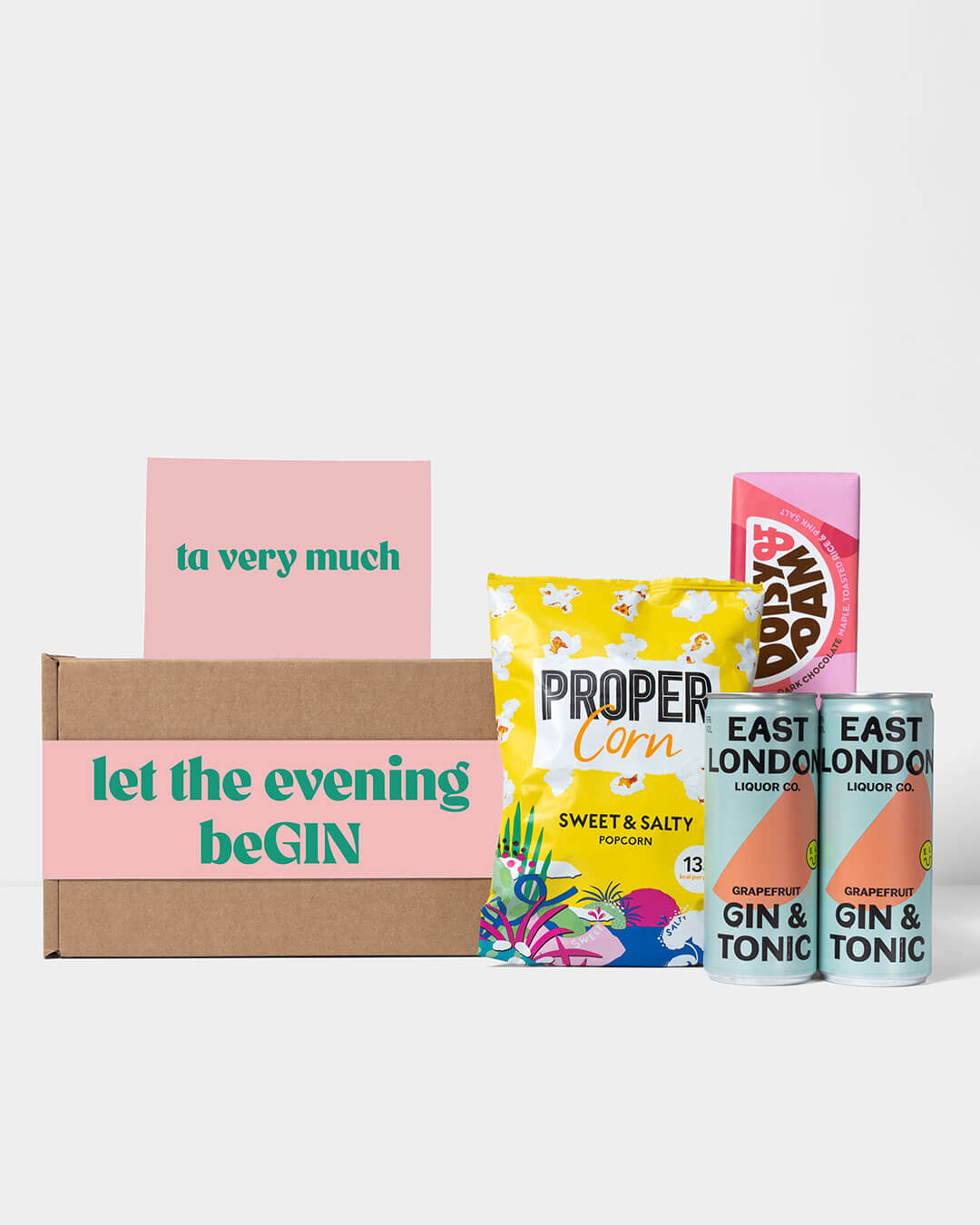 Spirit box including contents: 2 cans of Vodka & Rhubarb from East London Liquor, Propercorn pop corn & Doisy & Dam chocolate