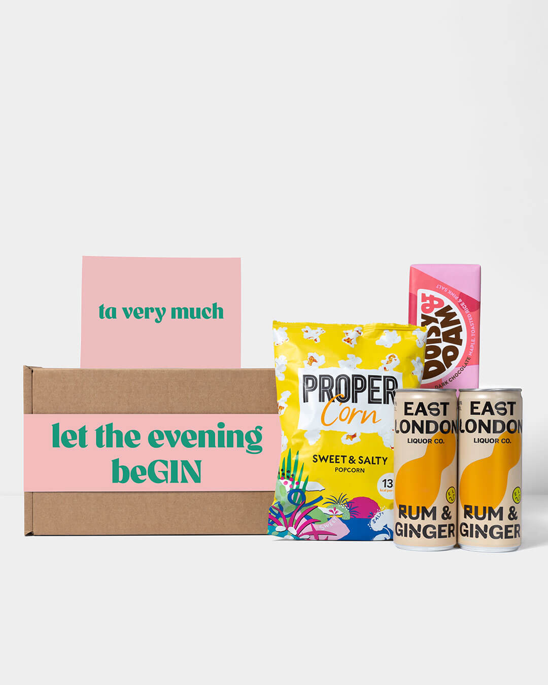 Spirit box including contents: 2 cans of Rum and Ginger from East London Liquor, Propercorn pop corn & Doisy & Dam chocolate