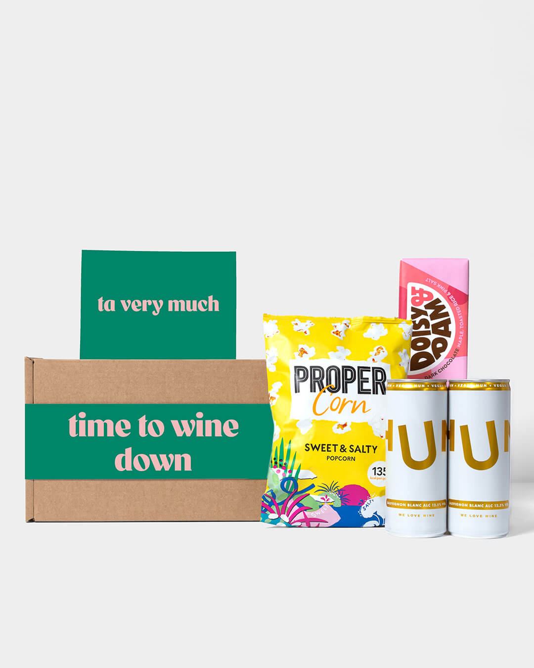 Wine box and contents including white and rosé Hun wine, Propercorn popcorn and Doisy & Dam Chocolate