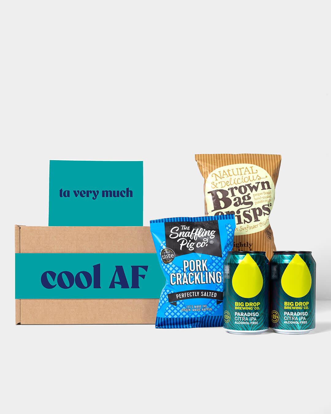 Alcohol Free Beer Box including contents: Big Drop Beer, Snaffling Pig Pork Scratchings & brown Bag crisps
