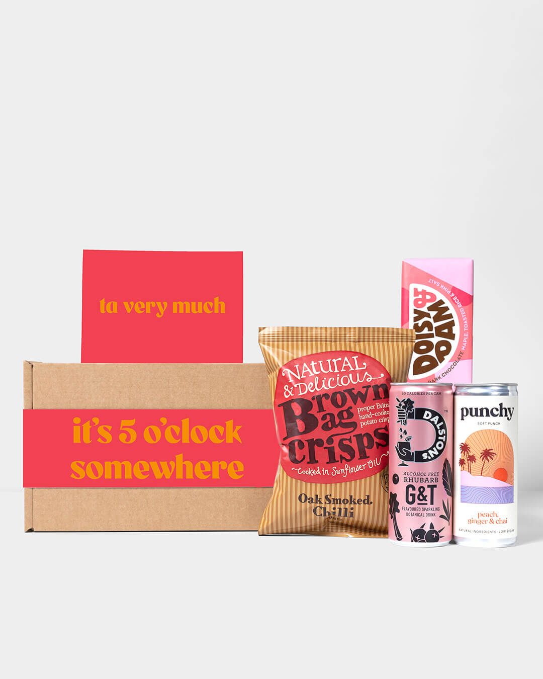 Alcohol Free Spirit box and contents including Dalston's AF Free G&T, Brown Bag Crisps & Doisy & Dam Chocolate
