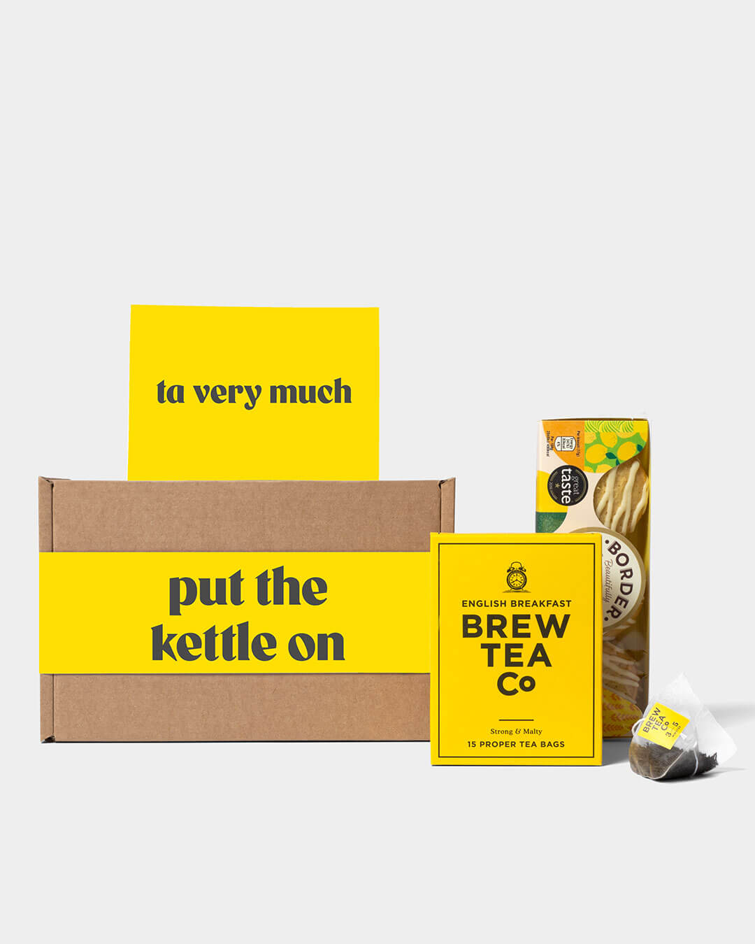 tea gift box and contents including Brew Tea Co tea bags and Border Biscuits