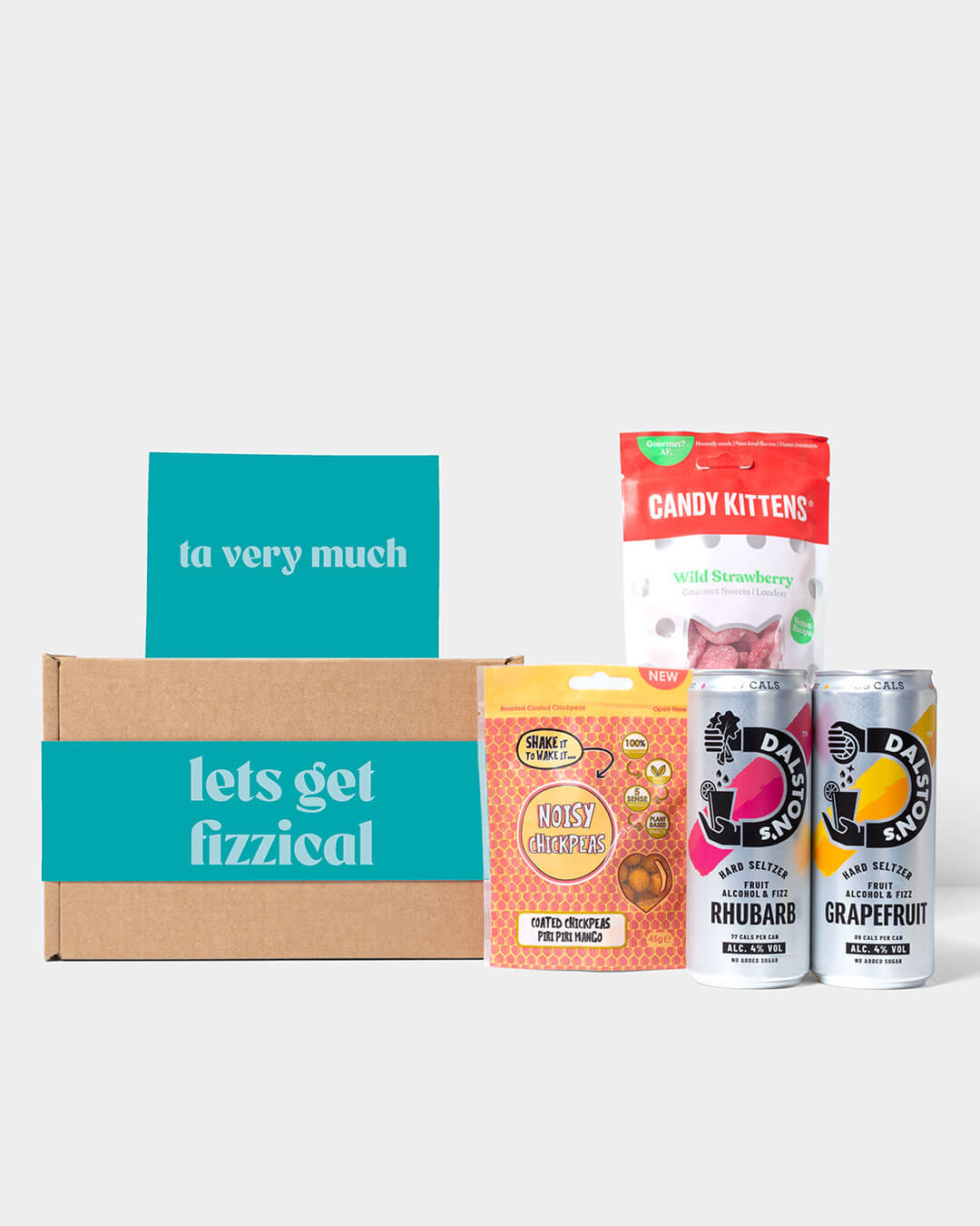 Hard seltzer box and contents including Dalston's hard seltzer cans, Noisy Snacks & Candy Kitten sweets