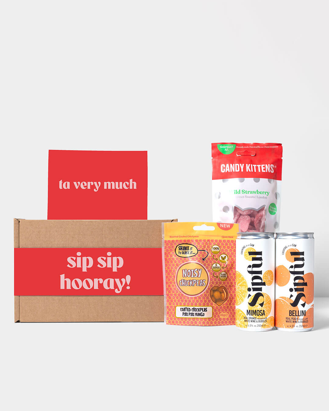 Contents of cocktail box, Sipful Cocktail Cans, Noisy Snacks & Candy Kittens