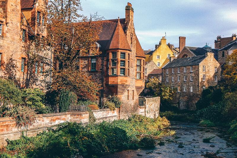 Houses and river at Dean Village, Edinburgh