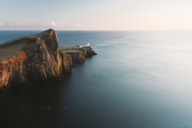 Looking out at Neist Point Lighthouse