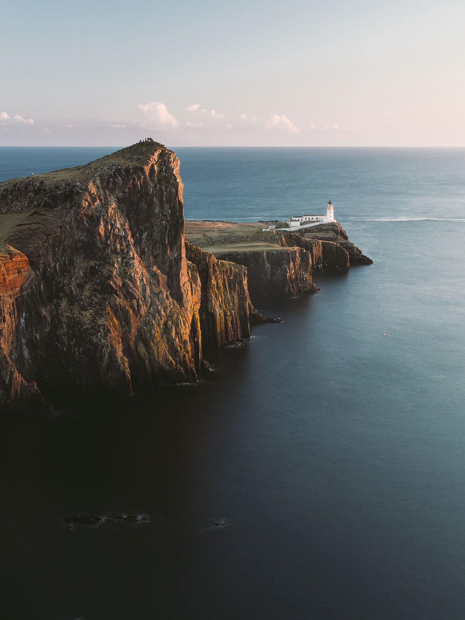 View of Neist Lighthouse and cliff edge.