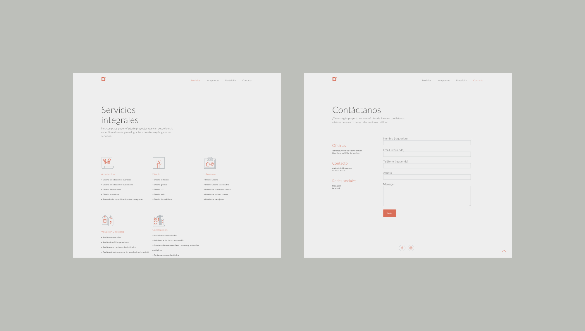 D diseno services and contact pages