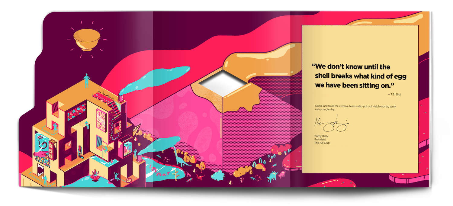 Layout of the inside cover of the Hatch 57 book.