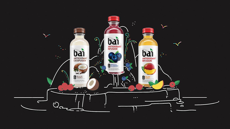 Hero shot of Bai bottles on an island of fruit.