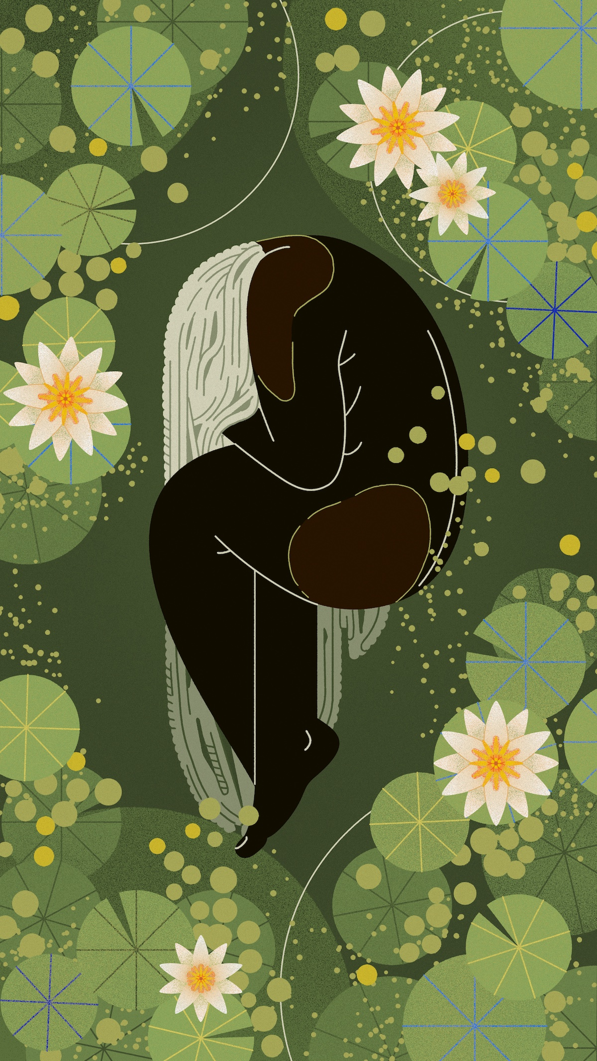 An illustration of a female figure lying in a lily pond.