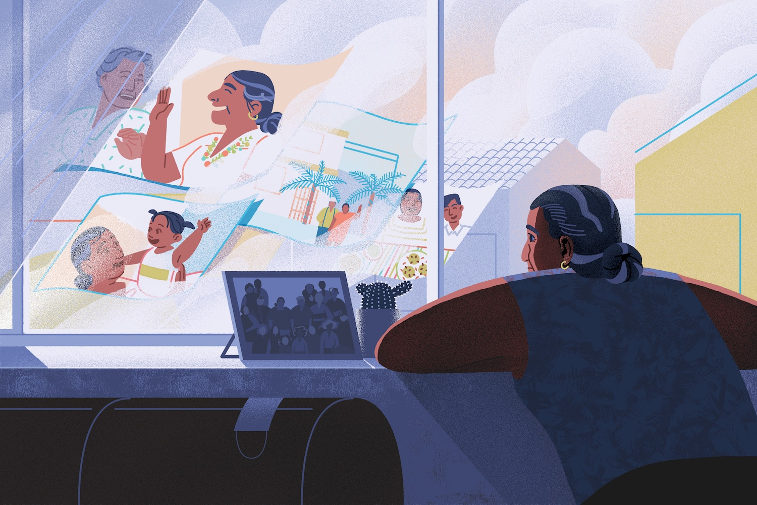 An illustration of a middle aged woman secluded in her home, looking outside the window as her memories fly by.