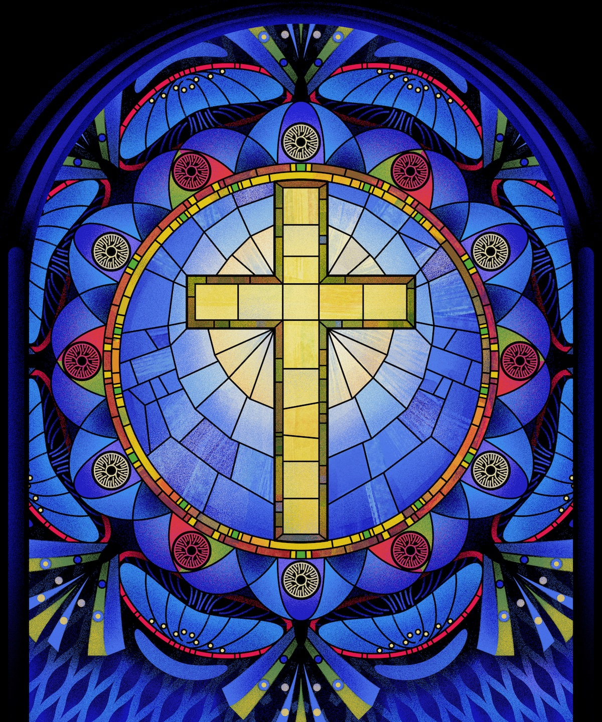 An illustration of a stained glass window with a cross in the center.