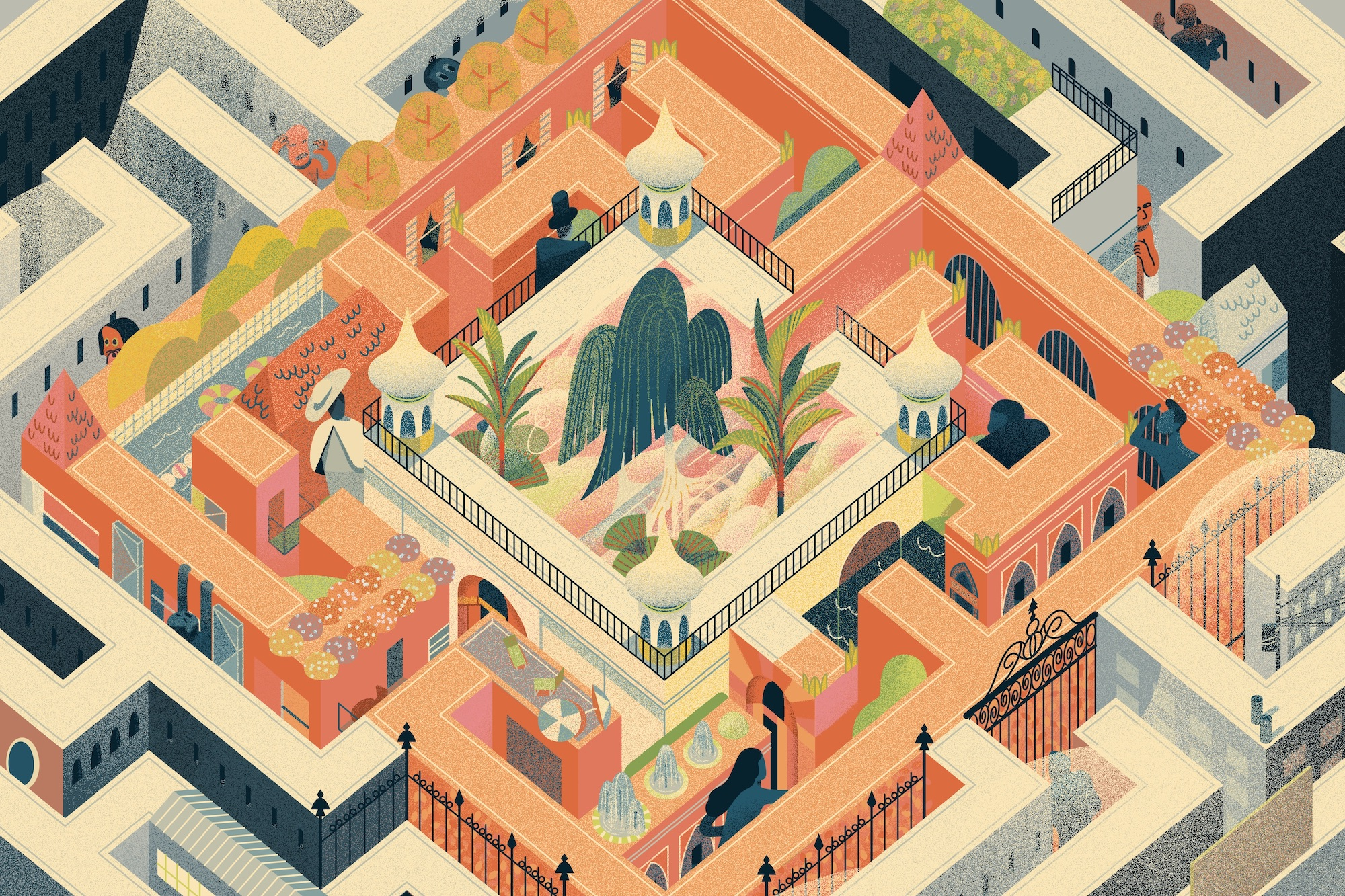 An illustration of people wandering through a huge city maze, with Shangri-la in the center.