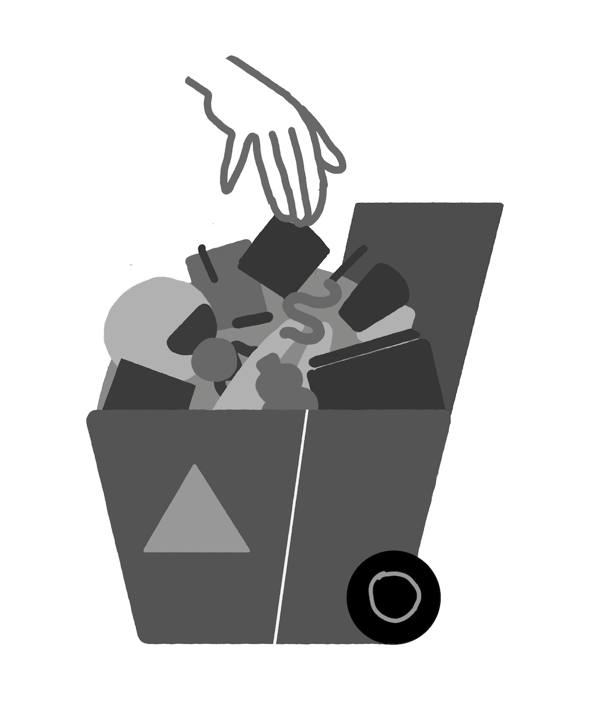 A sketch of all sorts of trash going into a recycling bin.